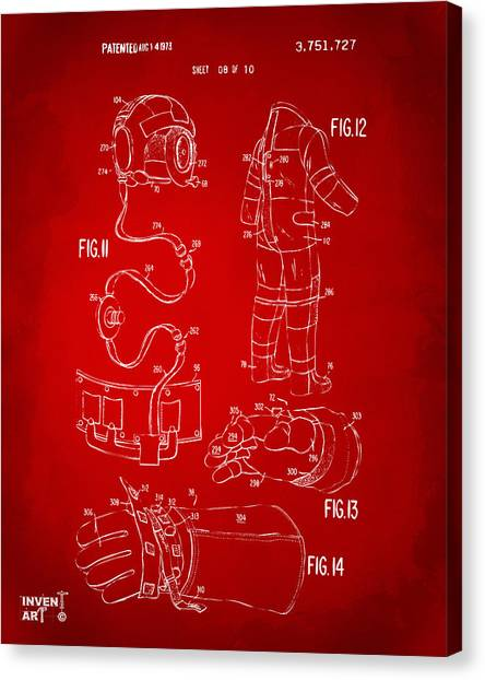 Space Suit Canvas Print - 1973 Space Suit Elements Patent Artwork - Red by Nikki Marie Smith