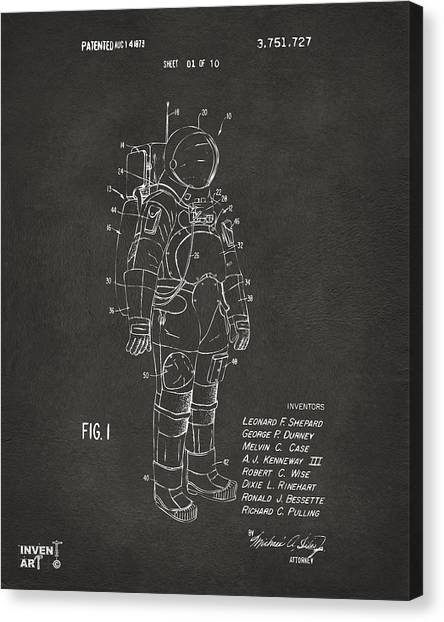 Space Shuttle Canvas Print - 1973 Space Suit Patent Inventors Artwork - Gray by Nikki Marie Smith