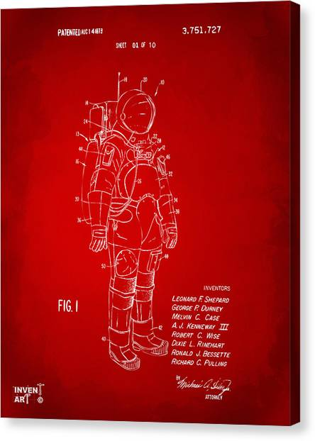 Space Suit Canvas Print - 1973 Space Suit Patent Inventors Artwork - Red by Nikki Marie Smith