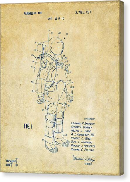 Space Suit Canvas Print - 1973 Space Suit Patent Inventors Artwork - Vintage by Nikki Marie Smith
