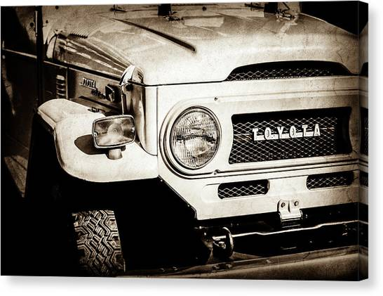 Toyota Canvas Print - 1973 Toyota Fj40 Land Cruiser Grille Emblem -1918s by Jill Reger