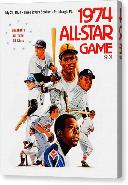 Mickey Mantle Canvas Print - 1974 Baseball All Star Game Program by John Farr