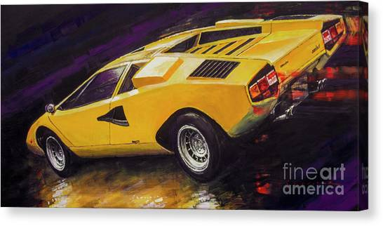 Oil On Canvas Print - 1974 Lamborghini Countach Lp400 by Yuriy Shevchuk