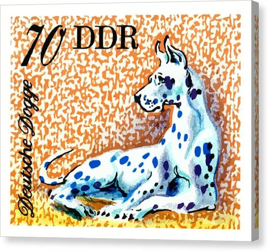 Mastiffs Canvas Print - 1976 Germany Great Dane Postage Stamp by Retro Graphics