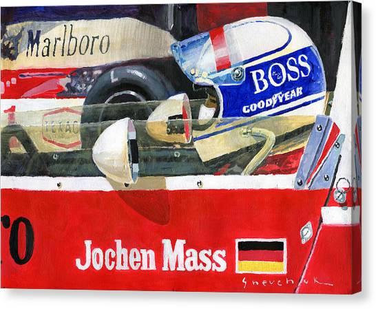 Mass Canvas Print - 1976 Jarama Marlboro F1 Team Mclaren Jochen Mass by Yuriy Shevchuk