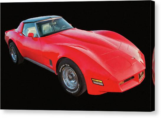 1977 Chevy Corvette T Tops Digital Oil Canvas Print