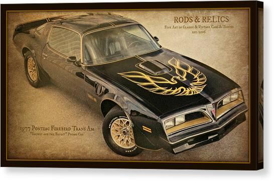Burt Reynolds Canvas Print - 1977 Pontiac Firebird Trans Am by Barbara Zahno