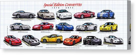 1978 - 2011 Special Edition Corvettes Canvas Print