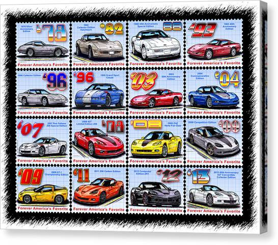 1978 - 2013 Special Edition Corvette Postage Stamps Canvas Print