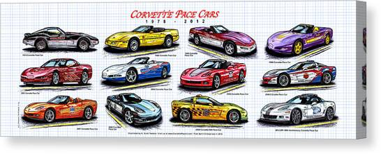 1978 - 2012 Indy 500 Pace Car Corvettes Canvas Print