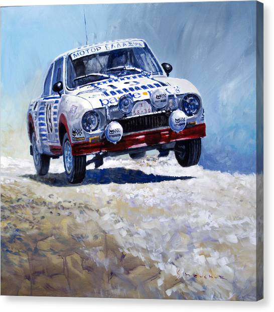 The Acropolis Canvas Print - 1978 Skoda 130 Rs #19 Rally Acropolis Haugland by Yuriy Shevchuk