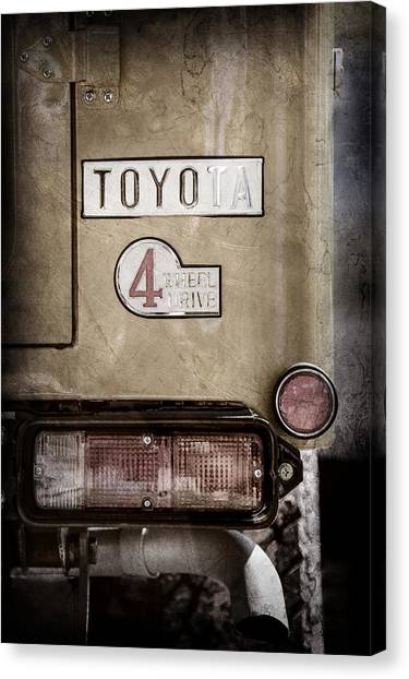 Toyota Canvas Print - 1978 Toyota Land Cruiser Fj40 Taillight Emblem -1191ac by Jill Reger