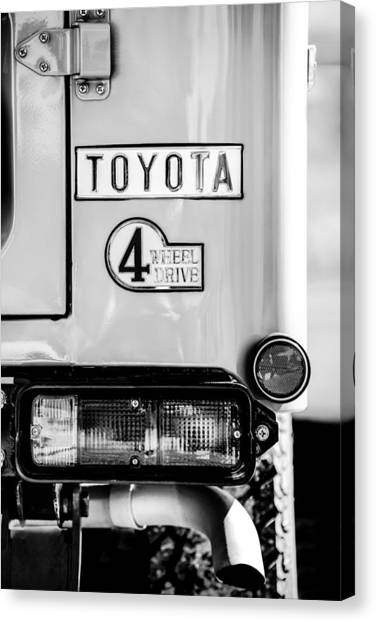 Toyota Canvas Print - 1978 Toyota Land Cruiser Fj40 Taillight Emblem -1191bw by Jill Reger