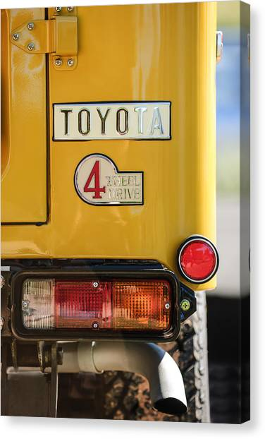 Toyota Canvas Print - 1978 Toyota Land Cruiser Fj40 Taillight Emblem -1191c by Jill Reger