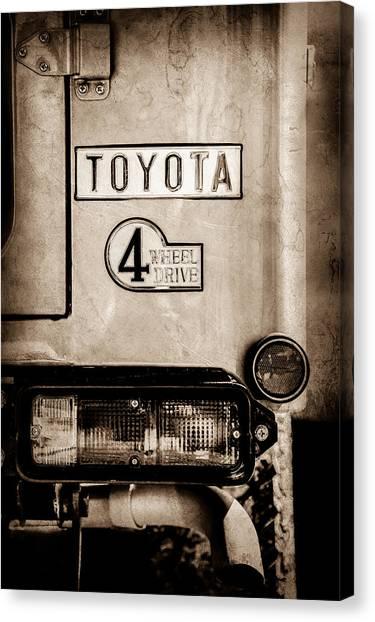 Toyota Canvas Print - 1978 Toyota Land Cruiser Fj40 Taillight Emblem -1191s by Jill Reger
