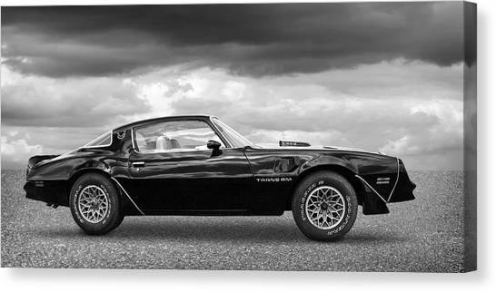 1978 Trans Am In Black And White Canvas Print