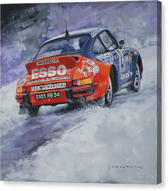 Automotive Art Canvas Print - 1980 Rallye Monte Carlo Porsche 911 Sc Hannu Mikkola  by Yuriy Shevchuk