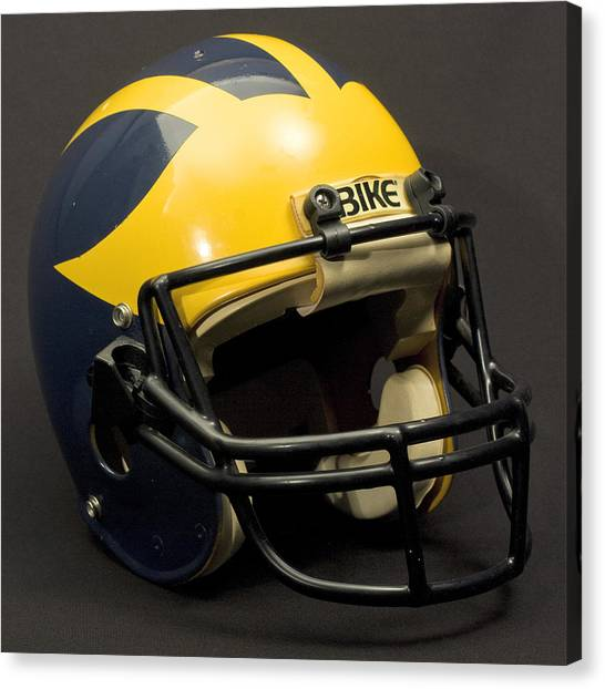 Canvas Print featuring the photograph 1980s Wolverine Helmet by Michigan Helmet