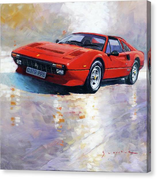 Oil On Canvas Print - 1982-1985 Ferrari 308 Gts by Yuriy Shevchuk