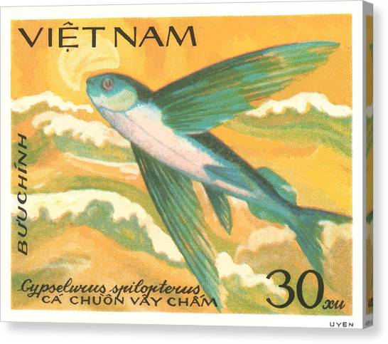 Vietnamese Canvas Print - 1984 Vietnam Flying Fish Postage Stamp by Retro Graphics