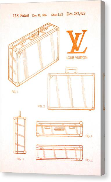 Early Christian Art Canvas Print - 1986 Louis Vuitton Suitcase Patent 2 by Nishanth Gopinathan