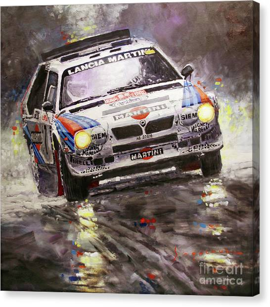 Deltas Canvas Print - 1986 Rallye Monte-carlo  Lancia Delta S4 Lancia Martini  Toivonen Cresto Winner by Yuriy Shevchuk