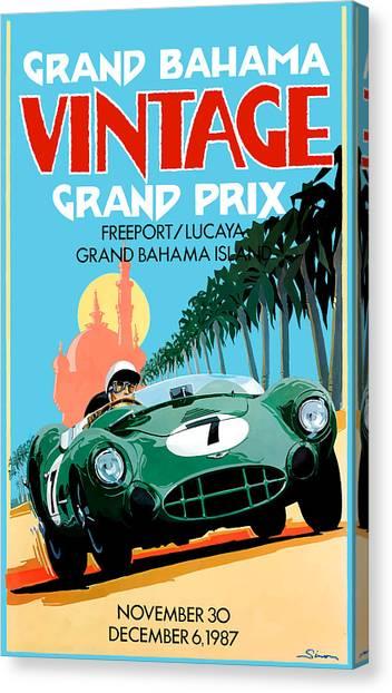 Ham Canvas Print - 1987 Grand Bahama Vintage Grand Prix Race Poster by Retro Graphics