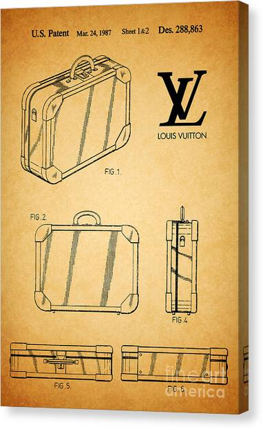 Vintage Canvas Print - 1987 Louis Vuitton Suitcase Patent 1 by Nishanth Gopinathan