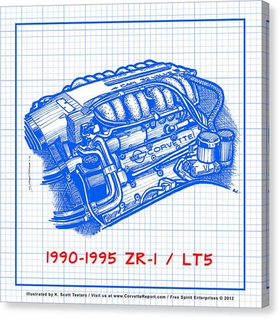1990-1995 C4 Zr-1 Lt5 Corvette Engine Blueprint Canvas Print