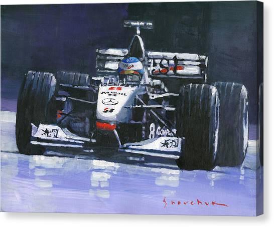 Automotive Art Canvas Print - 1998 Mika Hakkinen World Champion Formula One  Mclaren Mp4-13 by Yuriy Shevchuk