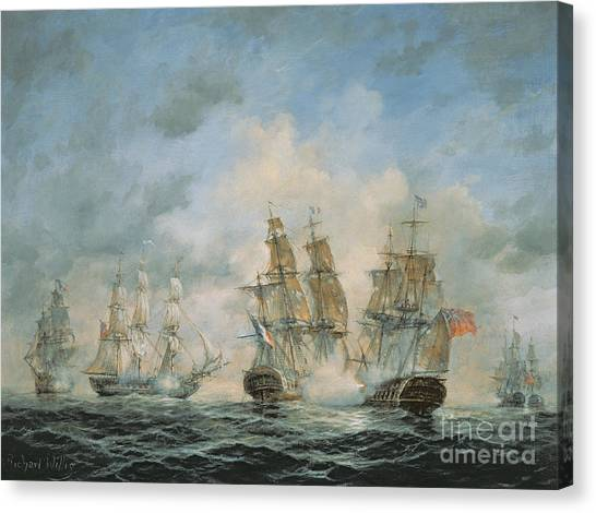 Engagement Canvas Print - 19th Century Naval Engagement In Home Waters by Richard Willis