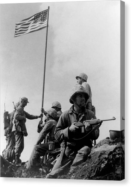 American Flag Canvas Print - 1st Flag Raising On Iwo Jima  by War Is Hell Store