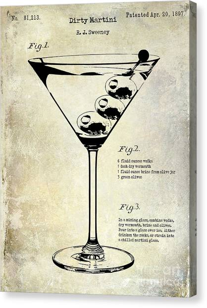 Gin Canvas Print - 1897 Dirty Martini Patent by Jon Neidert