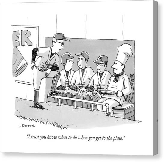 A Coach Is Standing By A Baseball Dugout Canvas Print