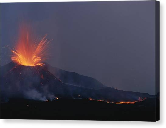 Mount Etna Canvas Print - A Fiery New Cone On Mount Etna Upstages by Carsten Peter
