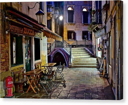 Bistros Canvas Print - An Evening In Venice by Frozen in Time Fine Art Photography