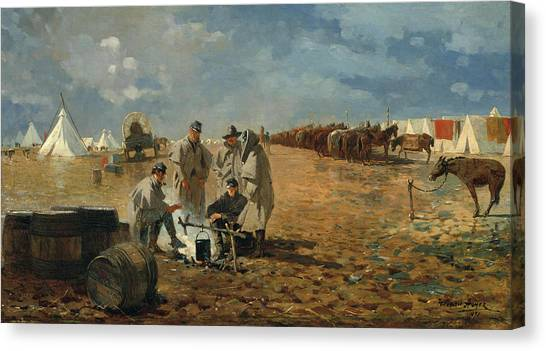 Army Of The Potomac Canvas Print - A Rainy Day In Camp by Winslow Homer