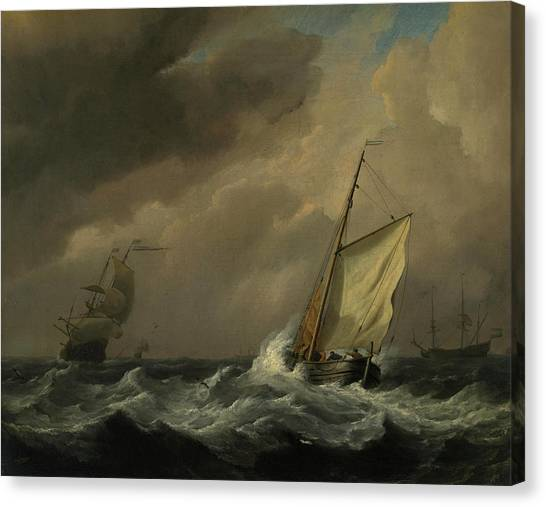 Thunderclouds Canvas Print - A Small Dutch Vessel Close-hauled In A Strong Breeze by Willem van de Velde