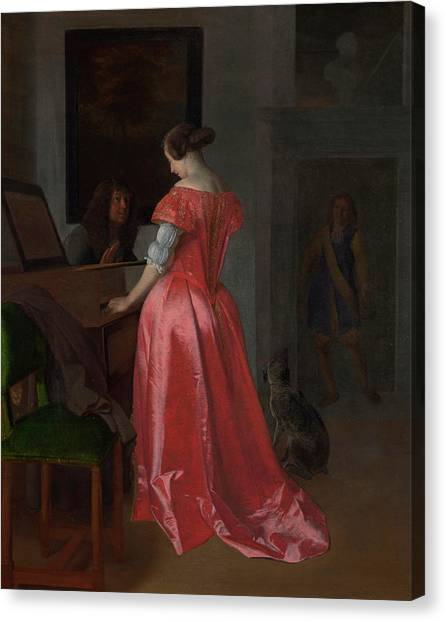 Harpsichords Canvas Print - A Woman Standing At A Harpsichord, A Man Seated By Her by Jacob Ochtervelt
