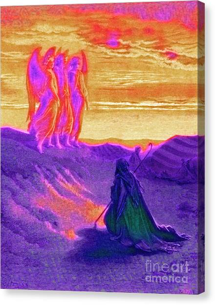 Holy Bible Canvas Print - Abraham And The Three Angels by Gustave Dore