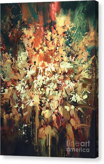 Canvas Print featuring the painting Abstract Flowers by Tithi Luadthong