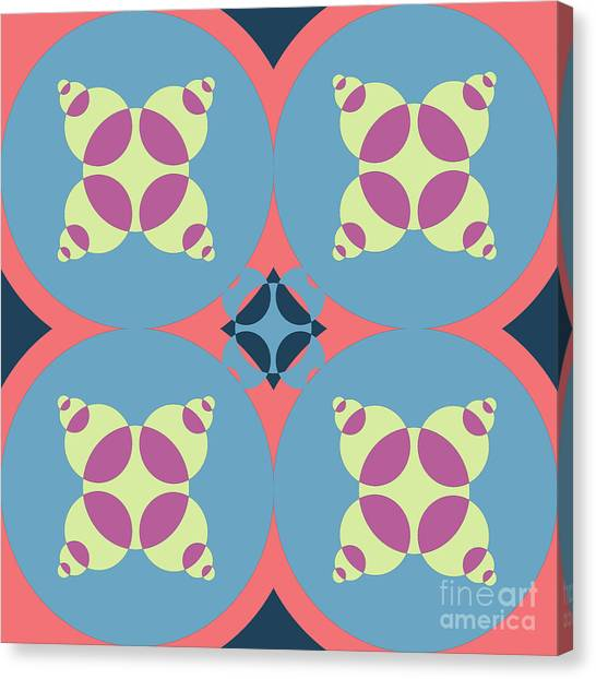 Arte Canvas Print - Abstract Mandala White, Pink And Blue Pattern For Home Decoration by Drawspots Illustrations