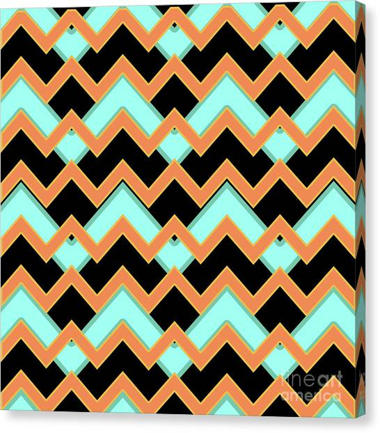 Suprematism Canvas Print - Abstract Orange, Black And Cyan Pattern For Home Decoration by Drawspots Illustrations