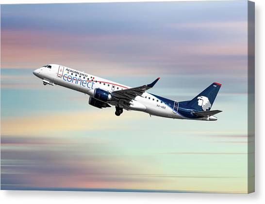 Connect Canvas Print - Aeromexico Connect Embraer Erj-190ar by Smart Aviation
