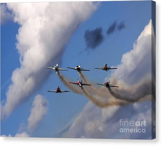 Yaks Canvas Print - Aerostars Yak-50 Team by Angel Ciesniarska