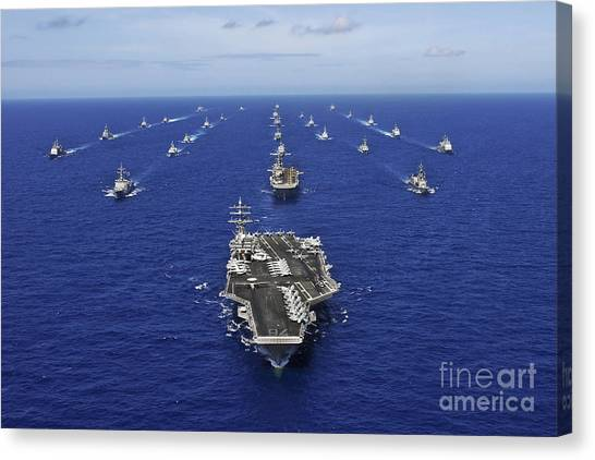 Canvas Print featuring the photograph Aircraft Carrier Uss Ronald Reagan by Stocktrek Images