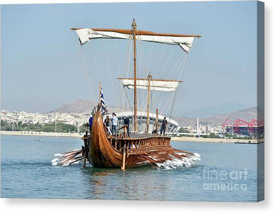 Wooden Canvas Print - An Ancient Trireme Underway by George Atsametakis