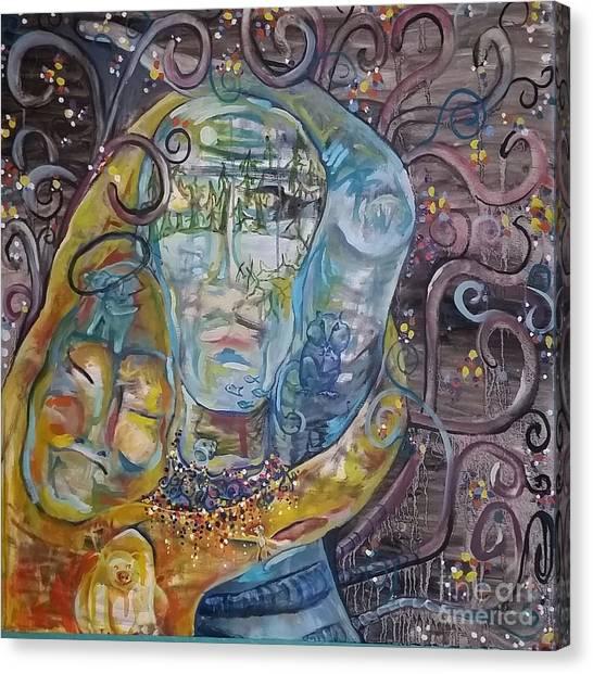 2 Angels Hugging Environmental Warrior Goddess Canvas Print