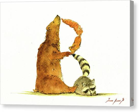 Raccoons Canvas Print - Animal Letter by Juan Bosco
