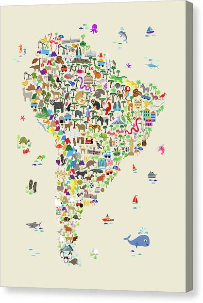 Peruvian Canvas Print - Animal Map Of South America For Children And Kids by Michael Tompsett